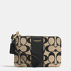 COACH L-ZIP SMALL WRISTLET IN PRINTED SIGNATURE - GOLD/LIGHT KHAKI/BLACK - F51702