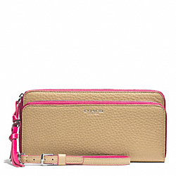 COACH BLEECKER EDGEPAINT LEATHER DOUBLE ZIP ACCORDION WALLET - SILVER/CAMEL/PINK RUBY - F51704