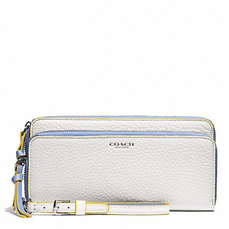 COACH BLEECKER EDGEPAINT LEATHER DOUBLE ZIP ACCORDION WALLET - SILVER/WHITE/BLUE OXFORD - f51704