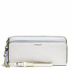 BLEECKER EDGEPAINT LEATHER DOUBLE ZIP ACCORDION WALLET - SILVER/WHITE/BLUE OXFORD - COACH F51704