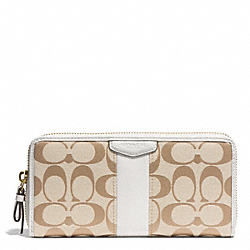 COACH SIGNATURE STRIPE ACCORDION ZIP WALLET - BRASS/LIGHT KHAKI/IVORY - F51710