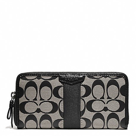COACH SIGNATURE STRIPE ACCORDION ZIP WALLET - SILVER/BLACK/WHITE/BLACK - f51710