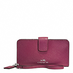 DARCY LEATHER PHONE WALLET - SILVER/MERLOT - COACH F51711