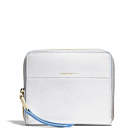COACH EDGEPAINT MEDIUM CONTINENTAL ZIP AROUND - GOLD/WHITE/BLUE OXFORD - f51715