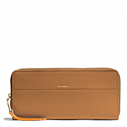 COACH EDGEPAINT LEATHER SLIM CONTINENTAL ZIP WALLET - GOLD/CAMEL/BRIGHT MANDARIN - F51716