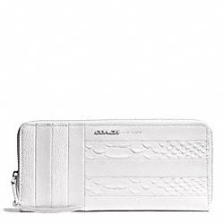 COACH WHITE PATCHWORK LEATHER SLIM CONTINENTAL ZIP AROUND WALLET - UE/WHITE - F51720
