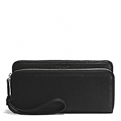 PARK LEATHER DOUBLE ACCORDION ZIP WALLET - f51725 - SILVER/BLACK