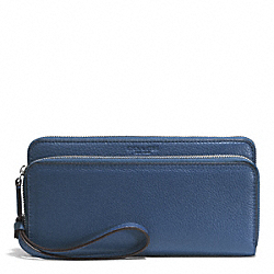 PARK LEATHER DOUBLE ACCORDION ZIP WALLET - f51725 - SILVER/DENIM