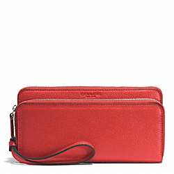 COACH PARK LEATHER DOUBLE ACCORDION ZIP WALLET - SILVER/VERMILLION - F51725