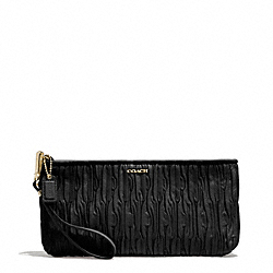 COACH MADISON GATHERED LEATHER ZIP TOP CLUTCH - LIGHT GOLD/BLACK - F51741