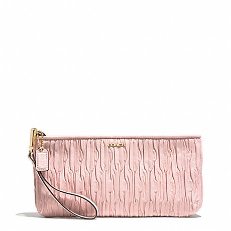 COACH MADISON GATHERED LEATHER ZIP TOP CLUTCH - LIGHT GOLD/NEUTRAL PINK - f51741