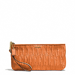 COACH MADISON GATHERED LEATHER ZIP TOP CLUTCH - LIGHT GOLD/BRIGHT MANDARIN - F51741