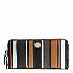 COACH PEYTON MULTI STRIPE ACCORDION ZIP WALLET - SILVER/BLACK MULTI - F51751
