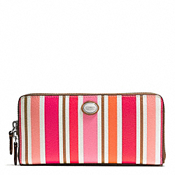 COACH PEYTON MULTI STRIPE ACCORDION ZIP WALLET - SILVER/PINK MULTICOLOR - F51751