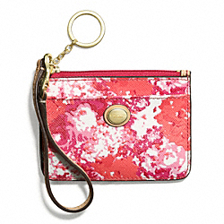 COACH PEYTON FLORAL PRINT ID SKINNY - BRASS/PINK MULTICOLOR - F51754