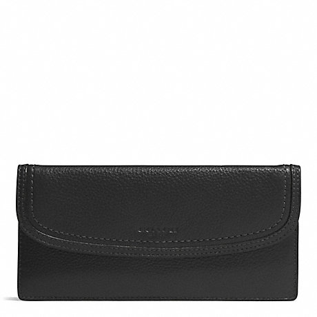 COACH PARK LEATHER SOFT WALLET - SILVER/BLACK - f51762