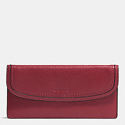 PARK LEATHER SOFT WALLET - f51762 - SILVER/CRIMSON