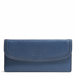 PARK LEATHER SOFT WALLET - f51762 - SILVER/DENIM