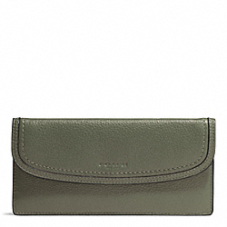 PARK LEATHER SOFT WALLET - f51762 - SILVER/OLIVE