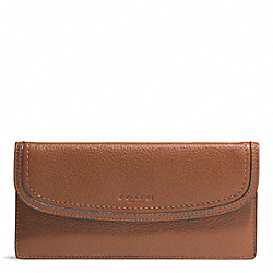 PARK LEATHER SOFT WALLET - f51762 - SILVER/SADDLE