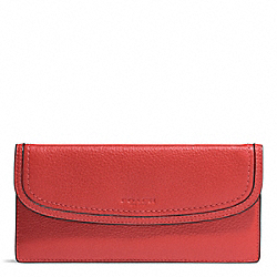 COACH PARK LEATHER SOFT WALLET - SILVER/VERMILLION - F51762