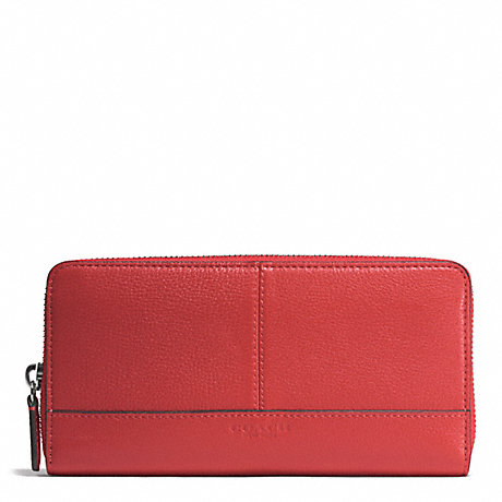 COACH PARK LEATHER ACCORDION ZIP WALLET - SILVER/VERMILLION - f51764