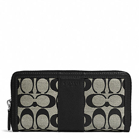 COACH PARK SIGNATURE ACCORDION ZIP WALLET - SILVER/BLACK/WHITE/BLACK - f51770