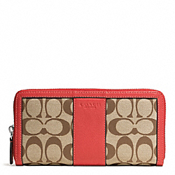 COACH PARK SIGNATURE ACCORDION ZIP WALLET - SILVER/KHAKI/VERMILLION - F51770