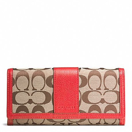 COACH PARK SIGNATURE SLIM ENVELOPE WALLET - SILVER/KHAKI/VERMILLION - f51772