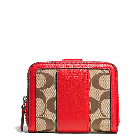 COACH f51774 PARK SIGNATURE MEDIUM ZIP AROUND WALLET SILVER/KHAKI/VERMILLION