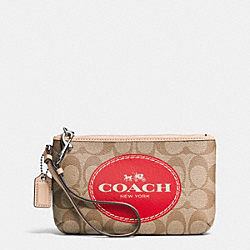 COACH HORSE AND CARRIAGE SIGNATURE MEDIUM WRISTLET - SILVER/KHAKI/CRIMSON - F51783
