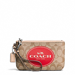 COACH HORSE AND CARRIAGE SIGNATURE MEDIUM WRISTLET - SILVER/KHAKI/VERMILLION - F51783