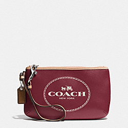 COACH HORSE AND CARRIAGE LEATHER MEDIUM WRISTLET - SILVER/CRIMSON - F51788