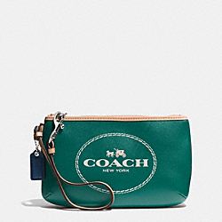 COACH HORSE AND CARRIAGE LEATHER MEDIUM WRISTLET - SILVER/LAGOON - F51788