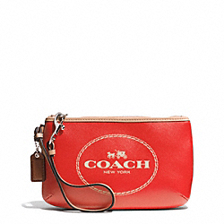 COACH HORSE AND CARRIAGE LEATHER MEDIUM WRISTLET - SILVER/VERMILLION - F51788