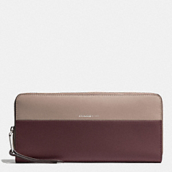 COACH SLIM ACCORDION ZIP WALLET IN COLORBLOCK RETRO AND BOARSKIN LEATHERS - ANTIQUE NICKEL/OXBLOOD/OLIGHT GOLDVE GREY - F51800
