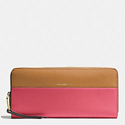 COACH COLORBLOCK RETRO AND BOARSKIN LEATHERS SLIM ACCORDION ZIP WALLET - GOLD/LOGANBERRY/TAN - F51800
