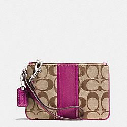 COACH SMALL WRISTLET IN SIGNATURE STRIPE LEATHER - SILVER/KHAKI/BERRY - F51806