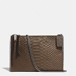 COACH ZIP TOP CROSSBODY IN PYTHON EMBOSSED LEATHER - BLACK ANTIQUE NICKEL/TAUPE GREY - F51865