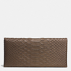 COACH ENVELOPE WALLET IN PYTHON EMBOSSED LEATHER - BLACK ANTIQUE NICKEL/TAUPE GREY - F51867