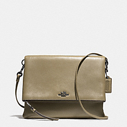 COACH MADISON FOLDOVER CROSSBODY IN LEATHER - BLACK ANTIQUE NICKEL/OLIVE GREY - F51896