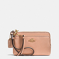 MADISON LEATHER DOUBLE ZIP WRISTLET - LIGHT GOLD/ROSE PETAL - COACH F51928