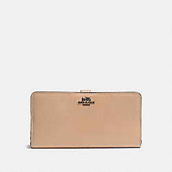 COACH SKINNY WALLET IN CALF LEATHER - DARK GUNMETAL/BEECHWOOD - F51936