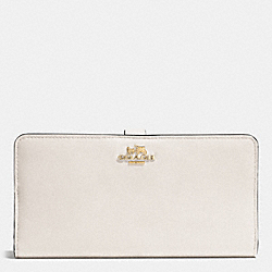 SKINNY WALLET IN LEATHER - f51936 - LIGHT GOLD/CHALK