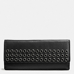 COACH BLEECKER SOFT WALLET WITH GROMMETS IN LEATHER - ANTIQUE NICKEL/BLACK - F51967