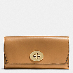 COACH MADISON SLIM ENVELOPE WALLET IN LEATHER - LIGHT GOLD/BRINDLE - F51968