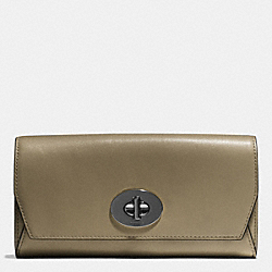 COACH SLIM ENVELOPE WALLET IN LEATHER - BLACK ANTIQUE NICKEL/OLIVE GREY - F51968