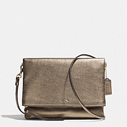 COACH BLEECKER FOLDOVER CROSSBODY IN METALLIC LEATHER - GOLD/GOLD - F51974