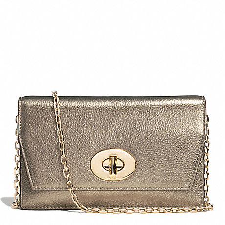 COACH BLEECKER METALLIC LEATHER CLUTCH WALLET - GOLD/GOLD - f51979