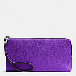 COACH BLEECKER L-ZIP WALLET IN PEBBLE LEATHER - AKD0G - F51981